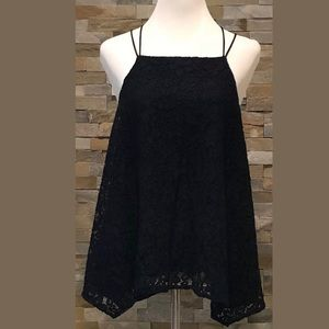ABERCROMBIE & FITCH Navy Blue Lined Lace Halter XL